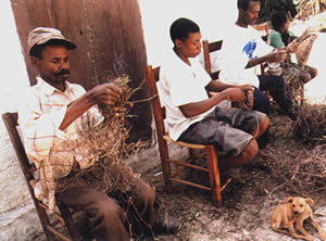 Haitian basket making.