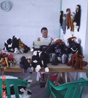 Plush monkeys help folks in Pintada earn a fair wage and help save monkeys and other animals.