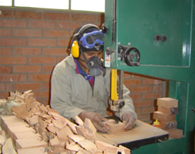 Rodrigo working with the bandsaw in Bolivia, making wooden puzzles.