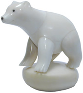 polar bear hand-carved from tagua nuts.