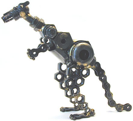 Kangaroo sculpture crafted by recycling metal parts