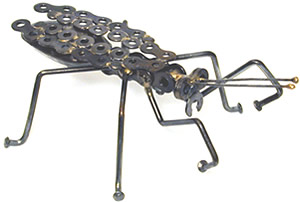 Praying Mantis crafted from metal parts.