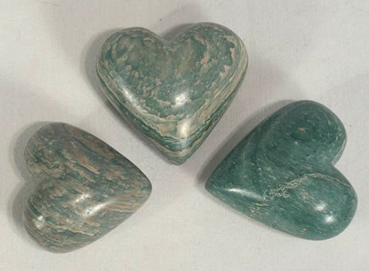Green soapstone hearts from Haiti.