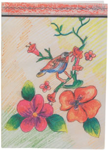 Greeting card featuring Bird on branches.