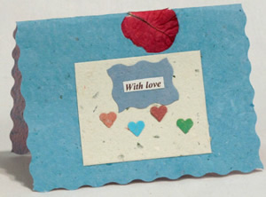 Handmade Peruvian paper greeting card - show love with lots of hearts.