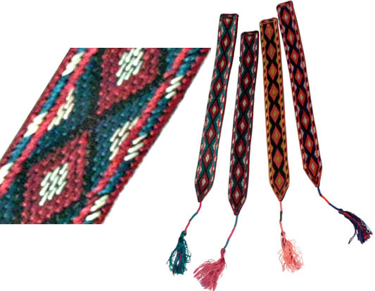 Afghan hand embroidered / cross-stitched bookmarks.