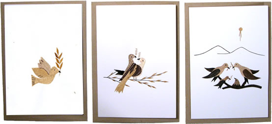 Banana Leaf greeting cards with peace doves.