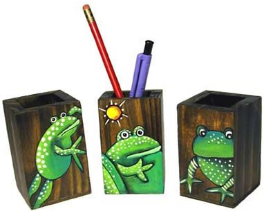 Pencil boxes decorated with frogs from El Salvador.