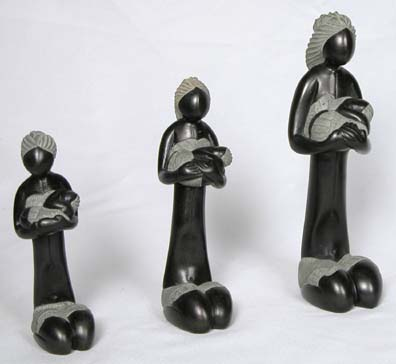 Haitan Soapstone carvings of mothers and children.