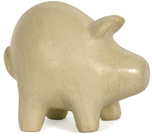 Pig carved from Haitian Soapstone.