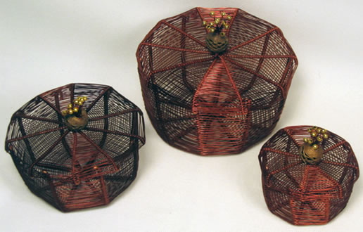 Set of 3 copper wire boxes - wire was reclaimed from refrigerators in Mali, Africa.