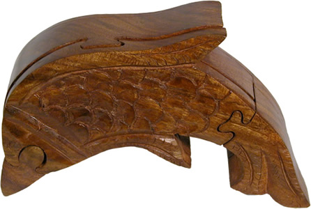 Dolphin wood puzzle box crafted in India from wood scraps.