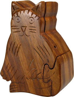 Wooden cat puzzle box, crafted from wood scraps in India.