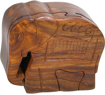 Elephant puzzle box crafted from wood scraps in India.