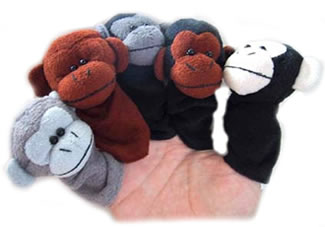 monkey finger puppets help rehabilitate live monkeys.