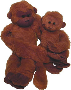 Plush red howler monkeys.