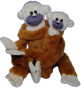 Stuffed squirrel monkey doll in small and large sizes.