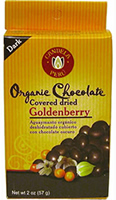 organic chocolate covered dried goldenberries.