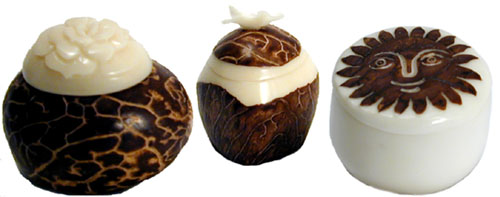 3 hand-carved tagua nut boxes from Ecuador.