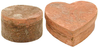 TQTH, TQTM-R; raw bark cinnamon boxes- heart and circular.